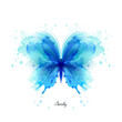 Beautiful blue watercolor abstract translucent butterfly on the white background. Wings look like wet watercolor splashing.