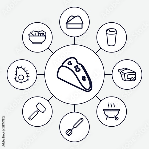 Set of 9 restaurant outline icons
