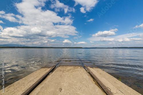 Poster Barrier lake Oravska Priehrada in northern Slovakia