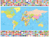 Colored World Map and All World Flags Collection - 138768754