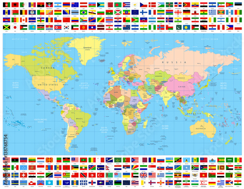 Colored World Map and All World Flags Collection
