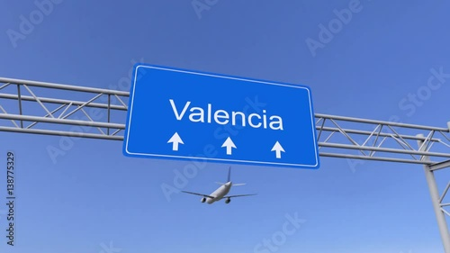 Commercial airplane arriving to Valencia airport. Travelling to Venezuela conceptual 4K animation