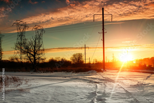 Winter landscape with forest, cliffs and sunset Poster