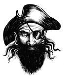 Pirate Head Sketch Wall Sticker