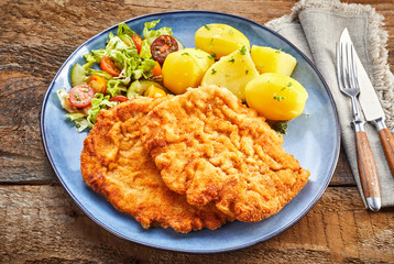 Served schnitzel dish from above