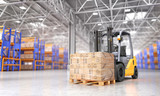 Fototapety Concept of warehouse. The forklift in the big warehouse on blurred background. 3d illustration