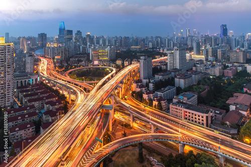 Foto op Aluminium Nacht snelweg Elevated highway and overpass in modern city