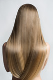 Portrait Of A Beautiful Young Blond Woman With Long Straight Hair. Back View - 138812752