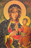 BERLIN, GERMANY, FEBRUARY - 15, 2017: The painting of Ikon Mother Mary of Czestochowa (Black Madonna) in church Rosenkranz Basilica by unknown artist of 20. cent.. - 138820578