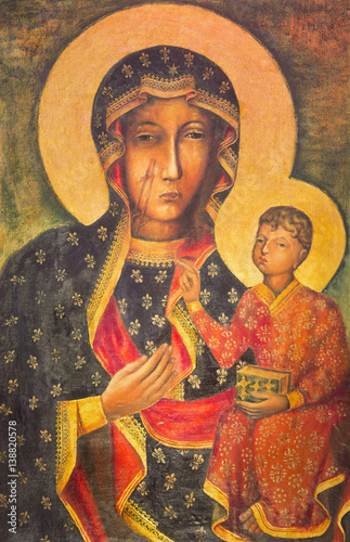 BERLIN, GERMANY, FEBRUARY - 15, 2017: The painting of Ikon Mother Mary of Czestochowa (Black Madonna) in church Rosenkranz Basilica by unknown artist of 20. cent.. © Renáta Sedmáková