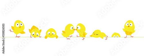 Easter border with funny cute chickens