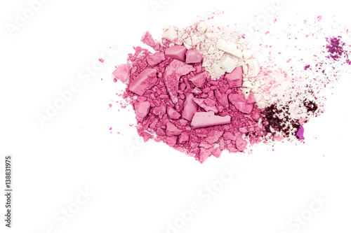 Fototapeta Eyeshadow Cosmetic Powder Scattered Copy Space. various set isolated on white background. The concept fashion and beauty industry. Abstract, place for text, the texture mineral makeup