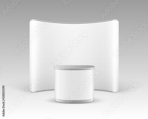 Vector White Blank Trade Exhibition Pop Up Stand for Presentation with Promotion Counter Table Isolated on White Background