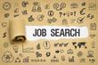 Job Search / Papier mit Symbole