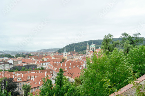 Poster view of Prague city from hill