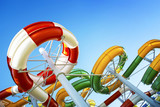 Water park with water colored flights and pools. - 138843707