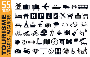 Icône - Tourisme - Vacances - loisir - voyage - transport - camping - sport