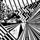 abstract geometric pattern background, with strokes and splashes, black and white
