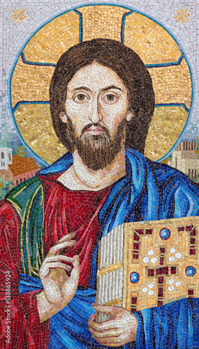 BERLIN, GERMANY, FEBRUARY - 16, 2017: The mosaik of the Blessed Jesus in church Marienkirche by workroom Cosmomusivo (2014) after old icon from Katherine cloistero on the Mt. Sinai. © Renáta Sedmáková