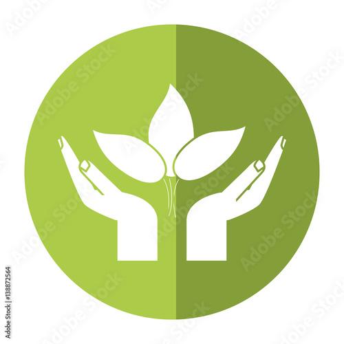 hand plant environment icon shadow vector illustration eps 10