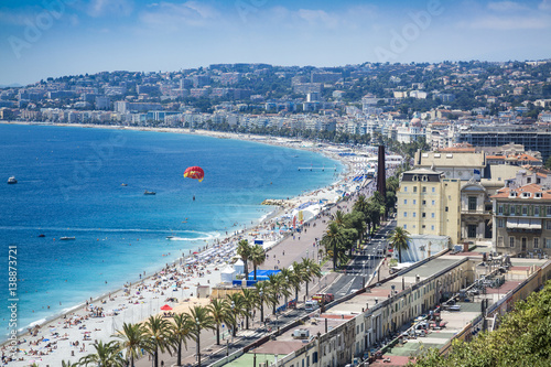 Beach promenade in Nice in the summer