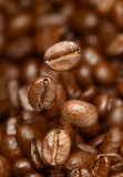 Macro photo of flying coffee beans. All beans in focus. - 138882599