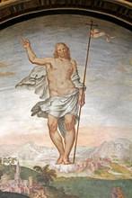 """Постер, картина, фотообои """"Cristo risorto; affresco di G.P. e A. Luini, Chiesa di San Maurizio, Milano"""""""
