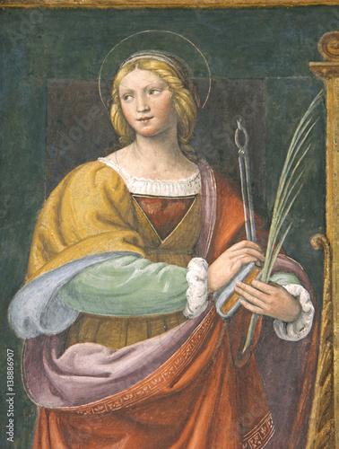 Santa Apollonia; affresco, Chiesa di San Maurizio, Milano Canvas Print