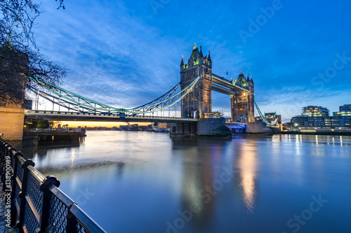Poster London Tower Bridge and Thames river viewed at sunrise in London, England
