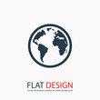 globe  icon, vector illustration. Flat design style