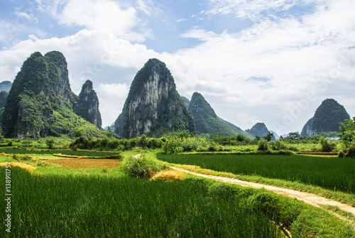 Aluminium Guilin Karst mountains and rural scenery in summer