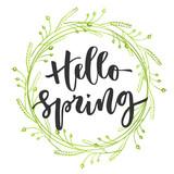Hello spring hand written inscription - 138916785