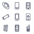 Set of 9 cellphone outline icons