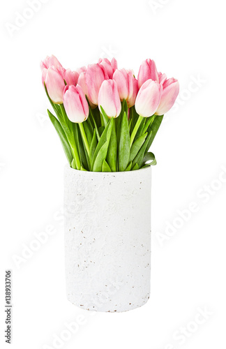 Pink tulips bouquet in old white vase Poster