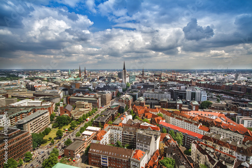 Foto op Canvas Praag Overlook from the Michelin Tower to the old town in Hamburg, Germany