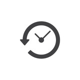 Clock with arrow around icon vector, filled flat sign, solid pictogram isolated on white. History symbol, logo illustration. Pixel perfect - 138942156
