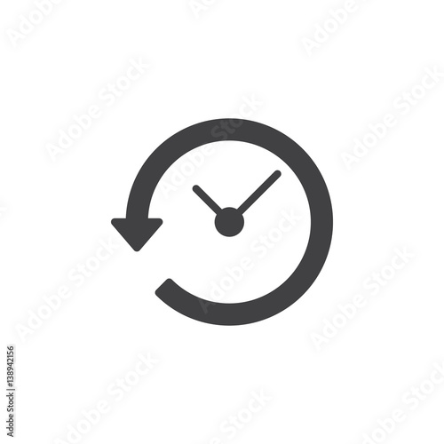 Clock with arrow around icon vector, filled flat sign, solid pictogram isolated on white. History symbol, logo illustration. Pixel perfect