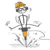 Bauarbeiter mit Presslufthammer