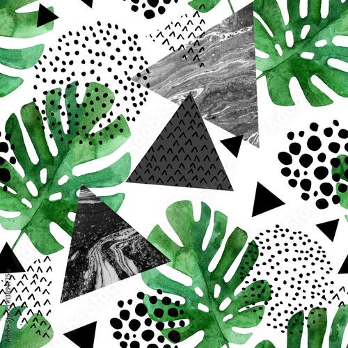 Materiał do szycia akwarela tropikalny liści i teksturowanej tło trójkątów