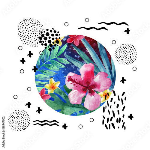 Abstract tropical summer poster design in minimal style. - 138947902