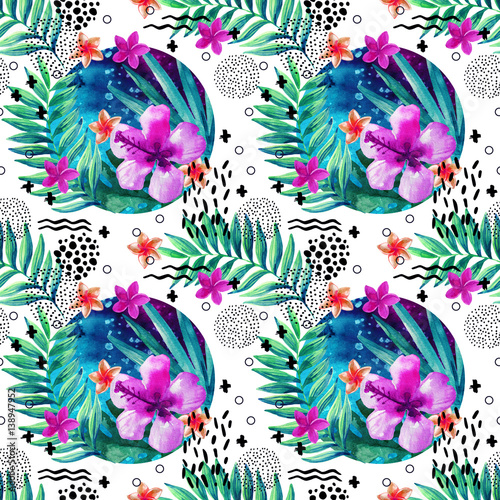 Abstract tropical summer seamless pattern in minimal style. - 138947952