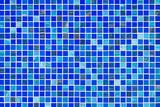 Blue glass mosaic tiles texture. - 138952329