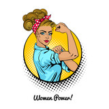 Women Power. Pop art sexy strong blonde girl in a circle on white background. Classical american symbol of female power, woman rights, protest, feminism. Vector illustration in retro comic style. - 138952363