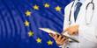 Doctor on EU flag background. 3d illustration