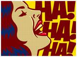 Popart stylu komiksów panelu kobieta o zabawie i śmieje się głośno plakat wektor projektowania ilustracji