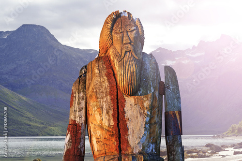 Norse God Odin isolated on the shore of fjord Poster