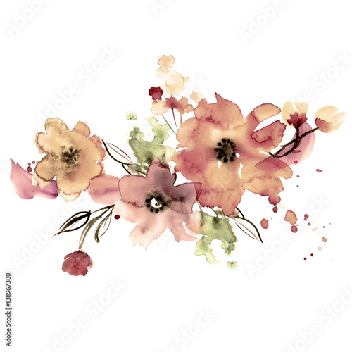 Fototapeta Cute watercolor hand painted flowers. Invitation. Wedding card. Birthday card.