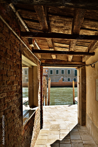 Venice with its narrow streets and its canals, Italy