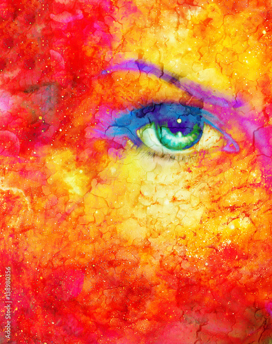 Woman eye in cosmic background. Painting and graphic design. Fire effect.