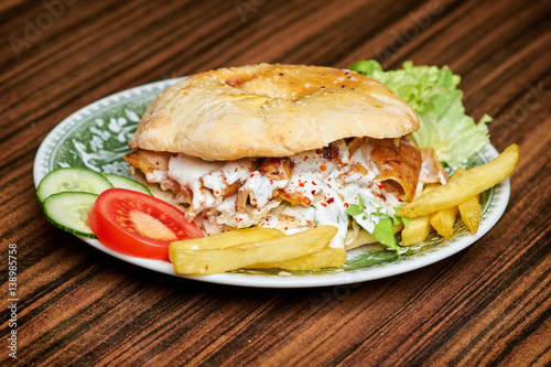 Gyros, greek wrapped sandwich similar with turkish doner kebab,